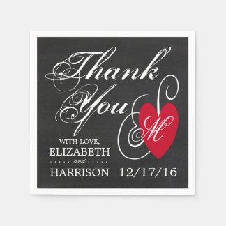 Modern Chalkboard Fancy Heart Wedding Disposable Napkins