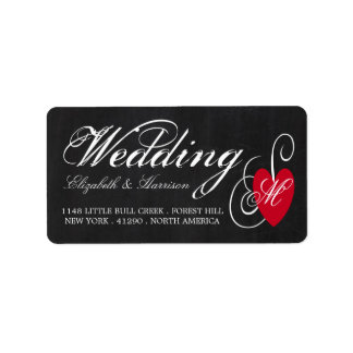 Modern Chalkboard Fancy Heart Wedding Label