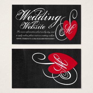 Modern Chalkboard Fancy Heart Wedding Website Business Card