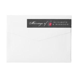 Modern Chalkboard Fancy Heart Wedding Wraparound Return Address Label