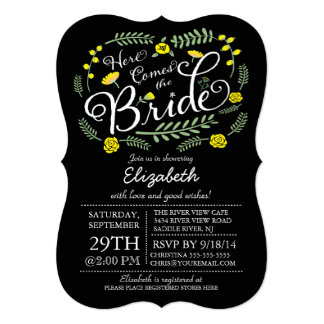 Modern Chalkboard Here Comes The Bride Floral Cards