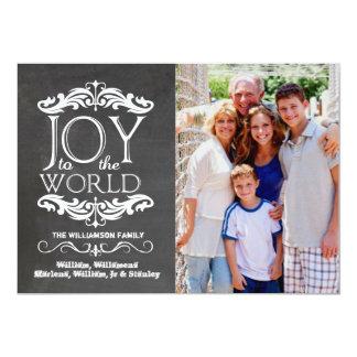 Modern Chalkboard Joy To The World Flat Photo Card