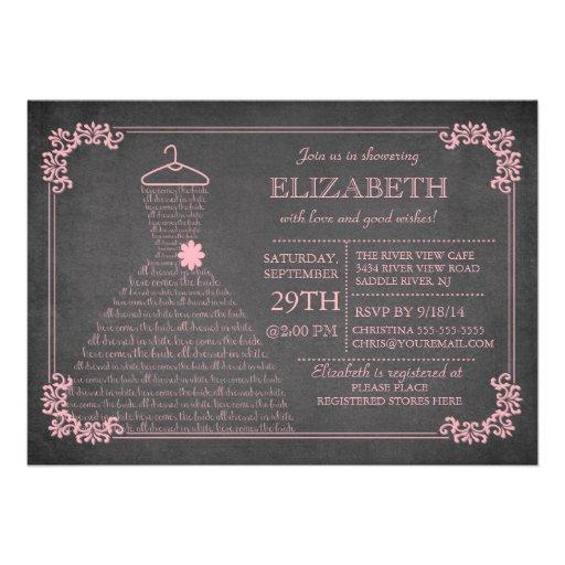Modern Chalkboard Pink Wedding Dress Bridal Shower Personalized Invites