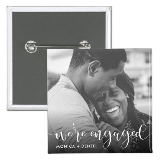 Modern Chalkboard & Script Engagement Party Photo 2 Inch Square Button