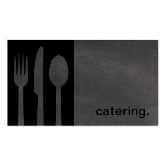 Modern Chalkboard Silhouette Catering black/grey Business Card