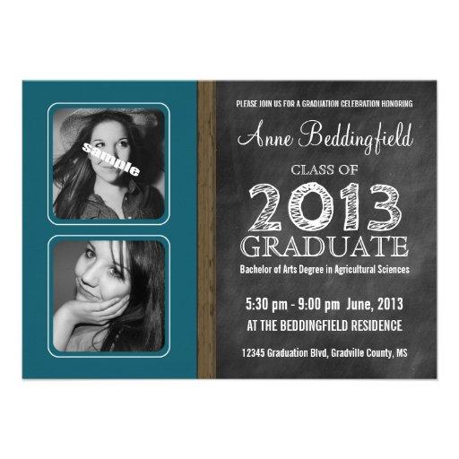 Modern Chalkboard Teal Blue 2 PIX Graduation Custom Invites