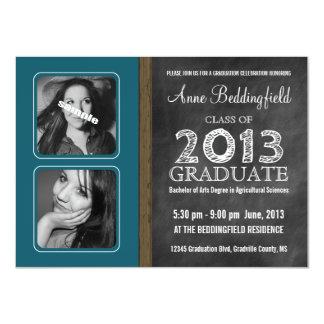 """Modern Chalkboard Teal Blue 2 PIX Graduation 4.5"""" X 6.25"""" Invitation Card"""