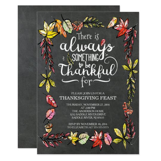 Modern Chalkboard Thankful Thanksgiving Invitation