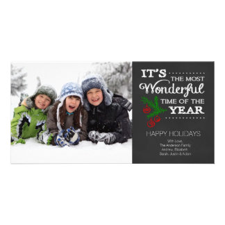 Modern Chalkboard Typography Holiday Photo Card