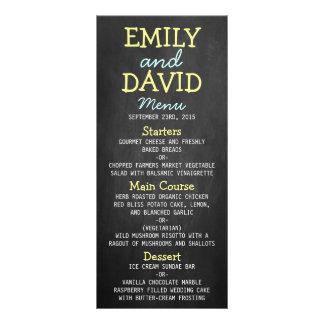 Modern Chalkboard Typography Wedding Menu Cards