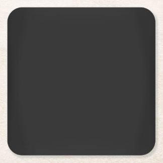 Modern Charcoal Black Customizable Square Paper Coaster