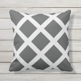 Modern Charcoal Gray and White Criss Cross Stripes Throw Pillow