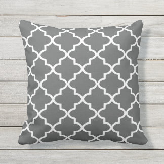 Modern Charcoal Gray and White Moroccan Quatrefoil Throw Pillow