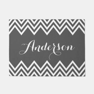 Modern Charcoal Gray Chevron Custom Monogram Doormat