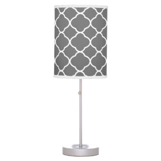 Modern Charcoal Gray Quatrefoil Pattern Table Lamp