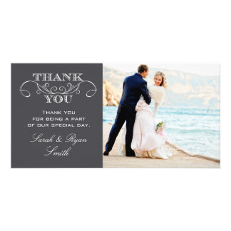 Modern Charcoal Gray Wedding Photo Thank You Cards Customized Photo Card