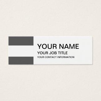 Modern Charcoal Gray White Stripes Pattern Mini Business Card