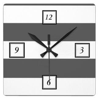Modern Charcoal Gray White Stripes Pattern Square Wall Clock