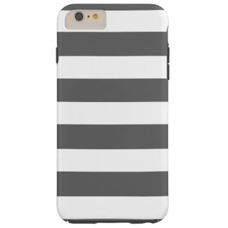 Modern Charcoal Gray White Stripes Pattern Tough iPhone 6 Plus Case