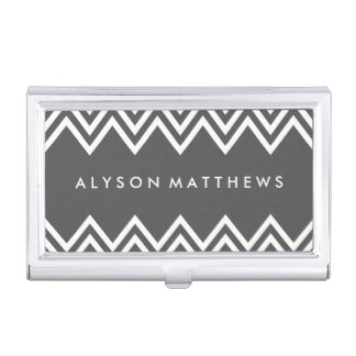 Modern Charcoal Grey and White Chevron Business Card Holder