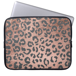 Modern charcoal grey rose gold leopard pattern laptop sleeve