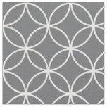 Modern Charcoal Grey White Circle Diamond Pattern Fabric
