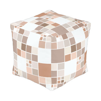 Modern Checkered Mosaic Tan Greige Pouf