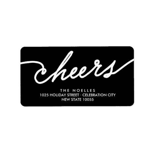 Modern Cheers Simple Script Holiday Address Labels