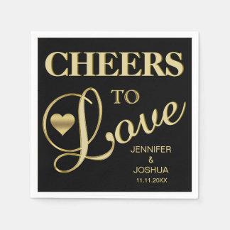 Modern CHEERS TO LOVE Black Heart Gold Wedding Napkin