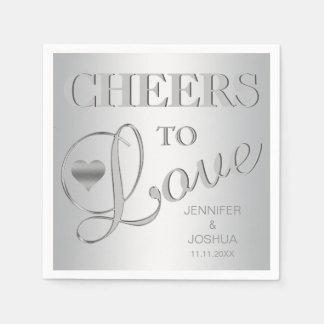 Modern CHEERS TO LOVE Silver Grey Wedding Paper Napkin
