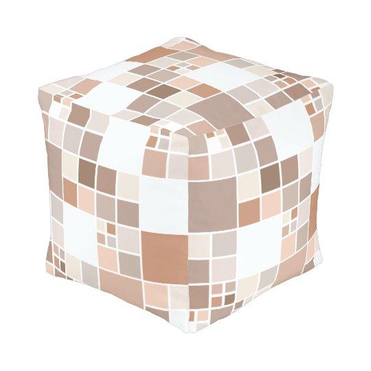 Modern Chequered Mosaic Tan Greige Pouf