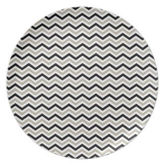Modern Chevron Black and Sand Plates