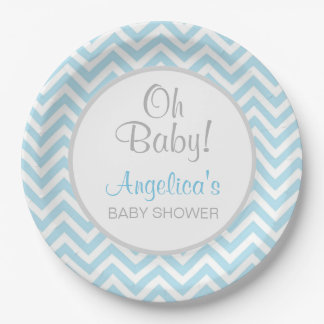 Modern Chevron Blue Grey Oh Baby Baby Shower Boy Paper Plate