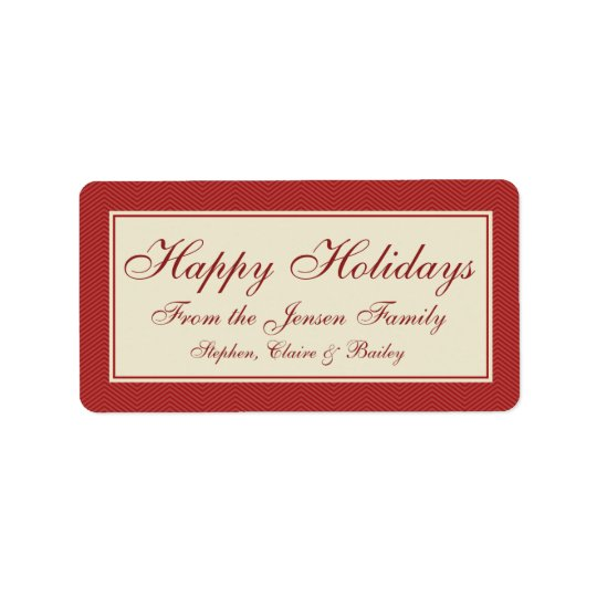 Modern Chevron Christmas Holiday Gift Label or Tag
