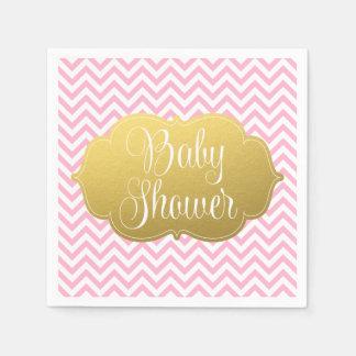 Modern Chevron Gold Pink Baby Shower Paper Napkin