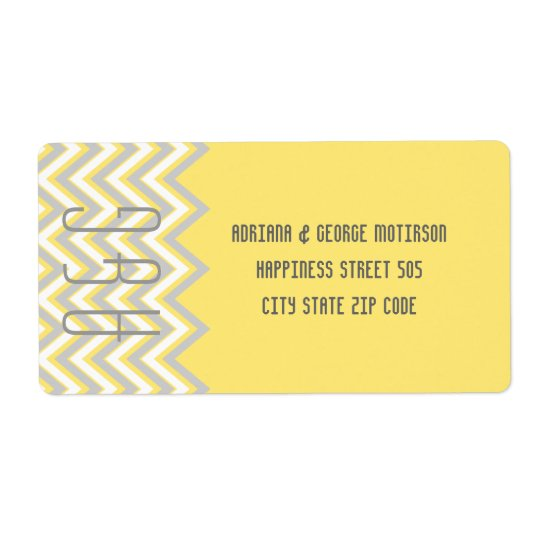 Modern chevron grey, yellow wedding
