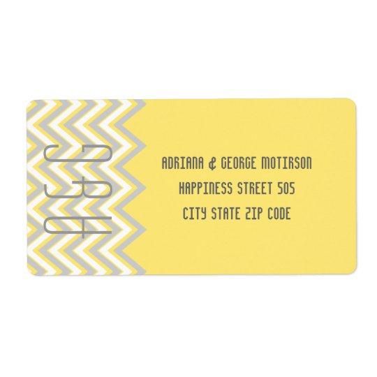 Modern chevron grey, yellow wedding shipping label