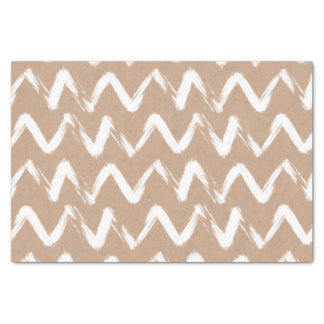 Modern chevron pattern faux brown kraft paper