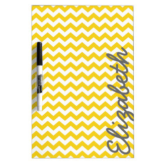 Modern Chevron Pattern with Name - Yellow Dry Erase Board
