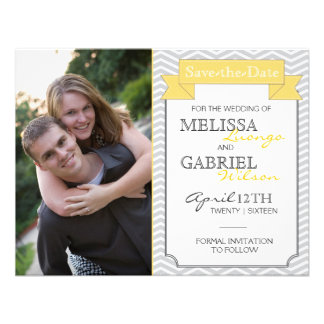 Modern Chevron Save the Date Yellow Announcement