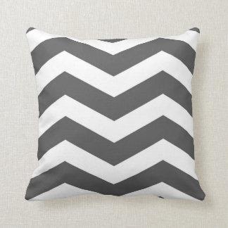 Modern Chevron Stripes in Charcoal Grey and White Throw Pillow