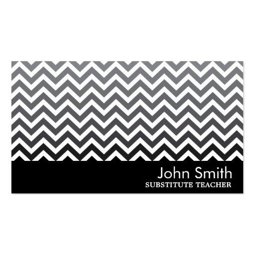 Modern Chevron Substitute Teacher Business Card