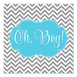 "Modern Chevron Teal Blue Gray Boy Baby Shower 5.25"" Square Invitation Card"