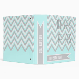 Modern chevron zigzag grey, light blue recipe binder