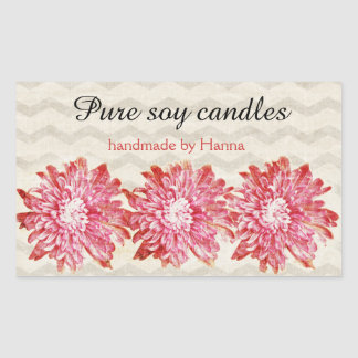 Modern chevron zigzag pattern with pink flower sticker