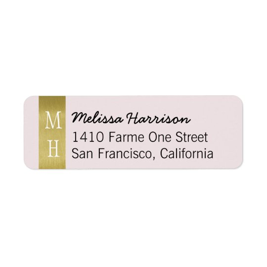 modern chic address label with her script name