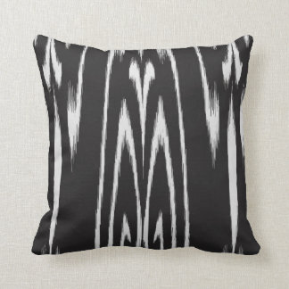 Modern chic black and white abstract ikat pillow