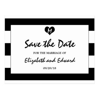 Modern Chic Black and White Wedding Save The Date Postcard