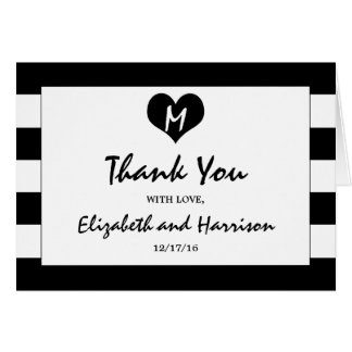 Modern Chic Black and White Wedding Thank You Card