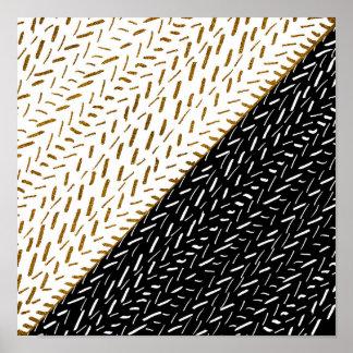 Modern chic black gold  faux glitter brushstrokes poster
